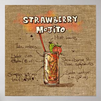 Cocktail Recipe strawberry mojito Poster