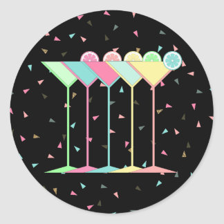 Cocktail Stickers, Martini's and Confetti in black Classic Round Sticker
