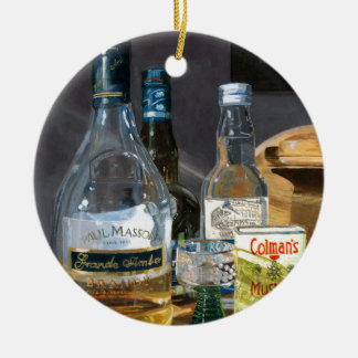 Cocktails and Mustard Ceramic Ornament