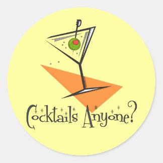 Cocktails Anyone? Round Sticker