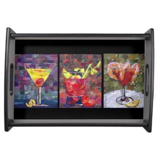 Cocktails collage art tray food trays