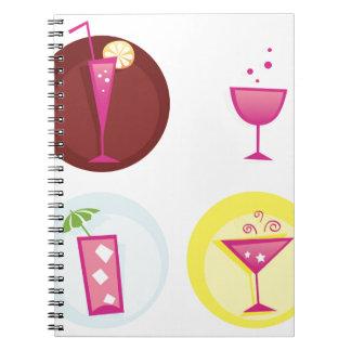 Cocktails cute ethno spiral notebook