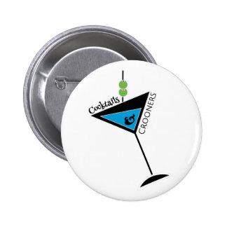 Cocktails et bouton de chanteurs de charme macaron rond 5 cm