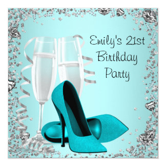Cocktails High Heels Teal 21st Birthday Party Card