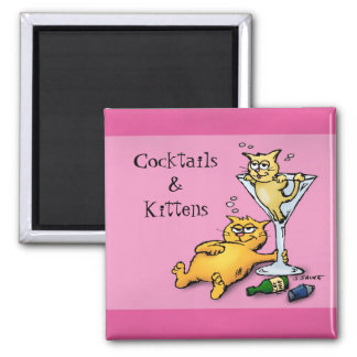 Cocktails & Kittens Pink Cartoon Magnet