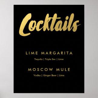 Cocktails menu gold glam sign | editable color poster