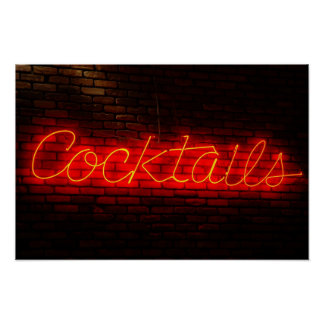 Cocktails on Brick Poster