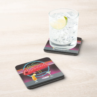 Cocktails retro night club coaster