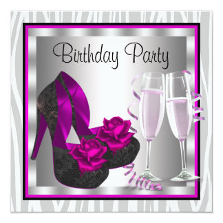 Cocktails Shoes Womans Hot Pink Birthday Party Card
