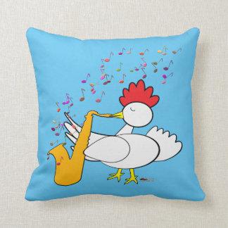 Cocky Sax Player Throw Pillow