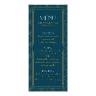 Coco | Art Deco Style Wedding Menu Rack Card Template