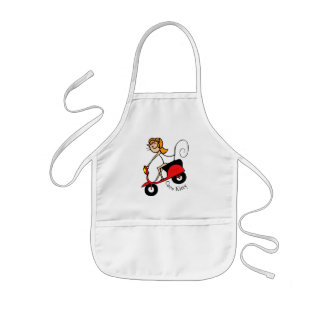 Coco Kitty Rides her little red Scooter Kids Apron