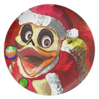 Coco Rubber Ducky Santa Plate