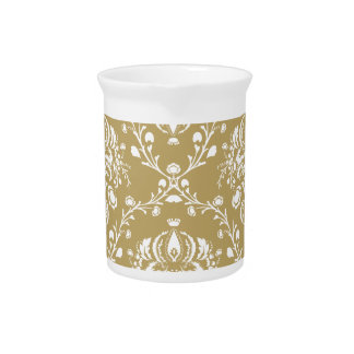 Cocoa and Cream Damask Beverage Pitcher