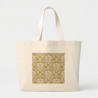 Cocoa and Cream Damask Large Tote Bag