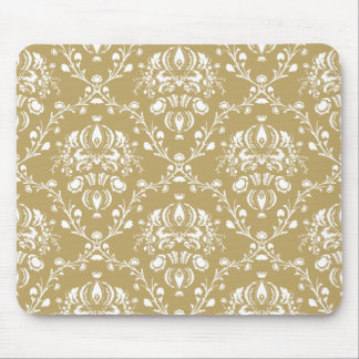 Cocoa and Cream Damask Mouse Pad