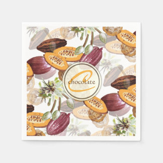 Cocoa Beans, Chocolate Flowers, Nature's Gifts Disposable Napkin