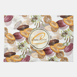 Cocoa Beans, Chocolate Flowers, Nature's Gifts Kitchen Towel