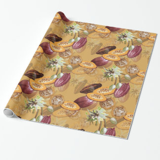 Cocoa Beans, Chocolate Flowers, Nature's Gifts Wrapping Paper