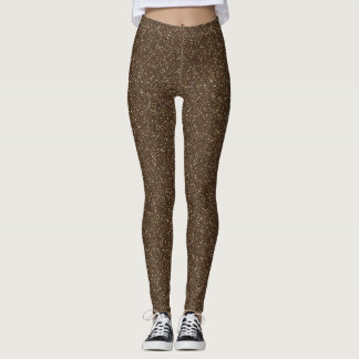 Cocoa Brown Faux Glitter Leggings