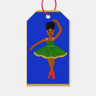 Cocoa Cutie Christmas Ballerina (Kiara) Gold/Blue Pack Of Gift Tags