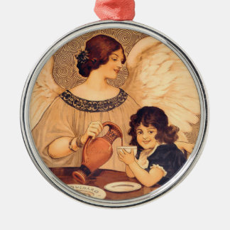 Cocoa Party Candy Angel Vintage Poster Silver-Colored Round Ornament
