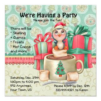 """Cocoa Penguin Winter Party 5.25"""" Square Invitation Card"""