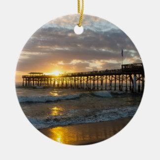Cocoa Pier 1st Sunrise 2017 Round Ceramic Ornament