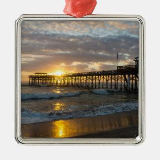 Cocoa Pier 1st Sunrise 2017 Silver-Colored Square Ornament