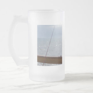 Cocoa Pier Fishing Frosted Glass Beer Mug