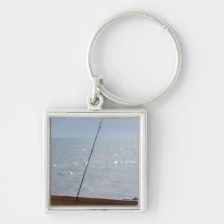 Cocoa Pier Fishing Silver-Colored Square Keychain