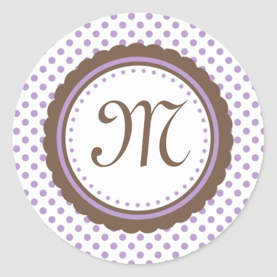 Cocoa & Purple Polka Dots Monogram Initial Sticker