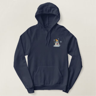 Cocoa Snowmen Embroidered Hoodie