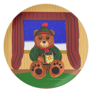 Cocoa Teddy Bear Dinner Plates
