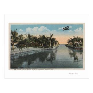 Cocoanut Grove, FL - Curtis James Estate Canal Postcard