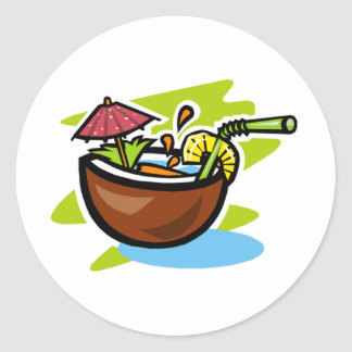 Coconut 2 Tropical Fruit Drink Round Sticker