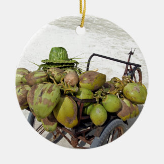 coconut business round ceramic ornament