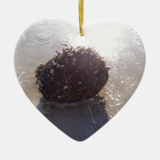 Coconut Ceramic Heart Ornament