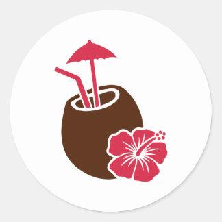 Coconut cocktail hibiscus round sticker