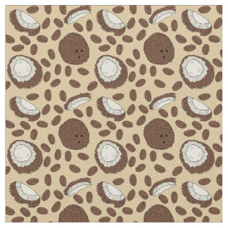 Coconut Coffee Bean Pattern Brown Tan Cream Fabric