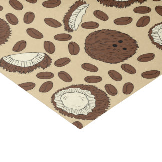 Coconut Coffee Bean Pattern Brown Tan Cream Tissue Paper
