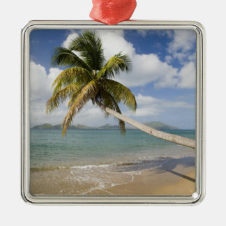 Coconut Grove Beach at Cades Bay, with St. Silver-Colored Square Ornament