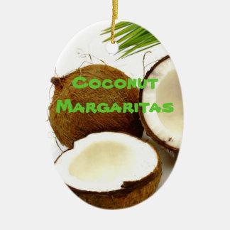 Coconut Margarita Party Favor Ceramic Oval Ornament