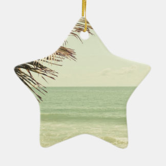 Coconut Palm and Pastel Beach Photography Ceramic Star Ornament