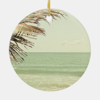 Coconut Palm and Pastel Beach Photography Round Ceramic Ornament