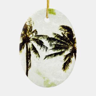 coconut palm ceramic oval ornament