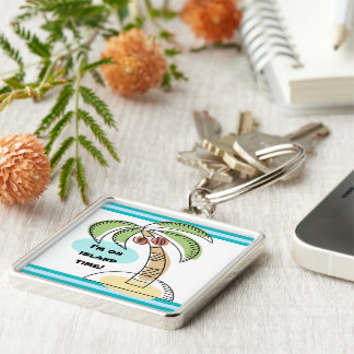 Coconut Palm Silver-Colored Square Keychain
