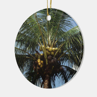 Coconut Palm Tree Round Ceramic Ornament