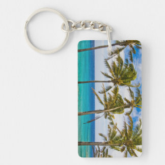 Coconut palm trees (Cocos nucifera) swaying in Double-Sided Rectangular Acrylic Keychain