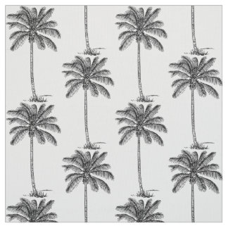 Coconut Palm Trees Pattern Line Drawing Style Fabric